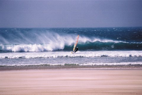 Windsurfing in Jersey in St Ouens Bay